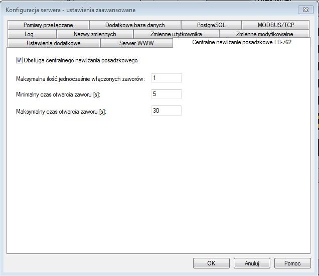 Konfiguracji serwera LBX: ustawienia zaawansowane - centralne nawilżanie posadzkowe LB-762.