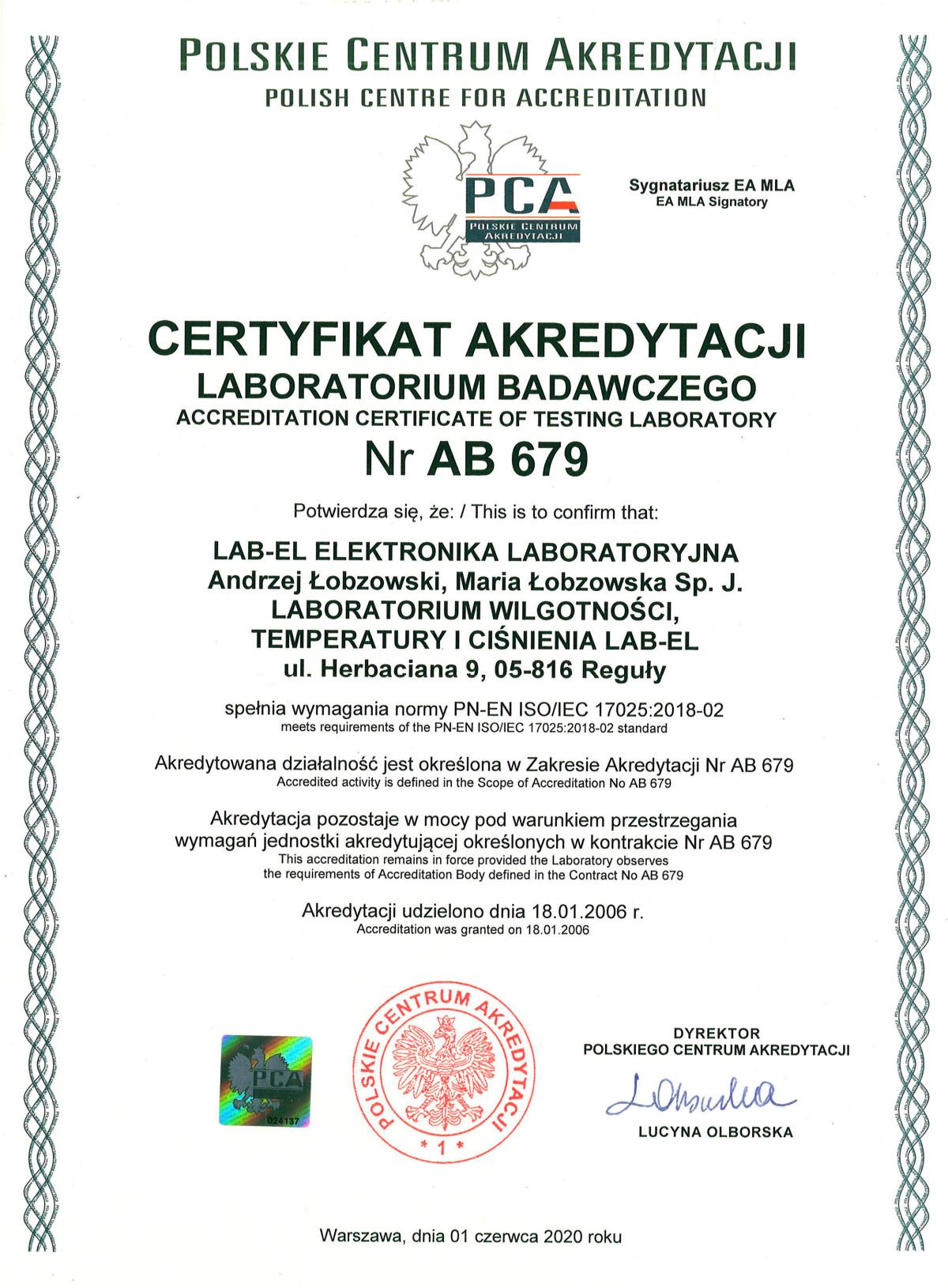 Certyfikat akredytacji nr AB 679
