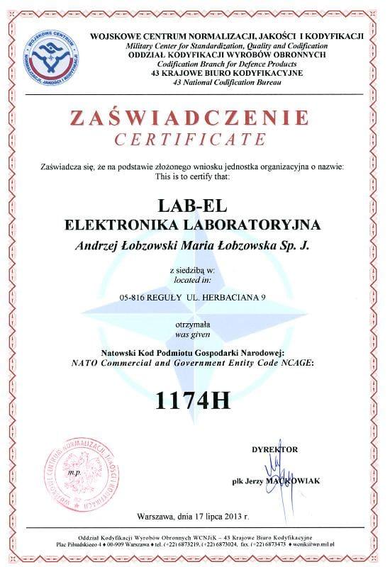 Certyfikat NCAGE