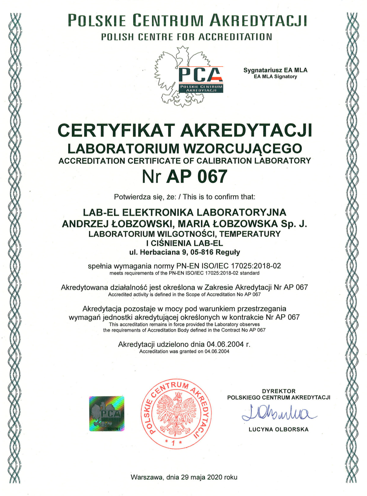 Certyfikat akredytacji PCA nr AP 067