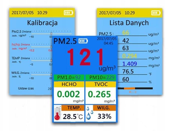 Menu czujnika pyłu zawieszonego Dienmern DM106A