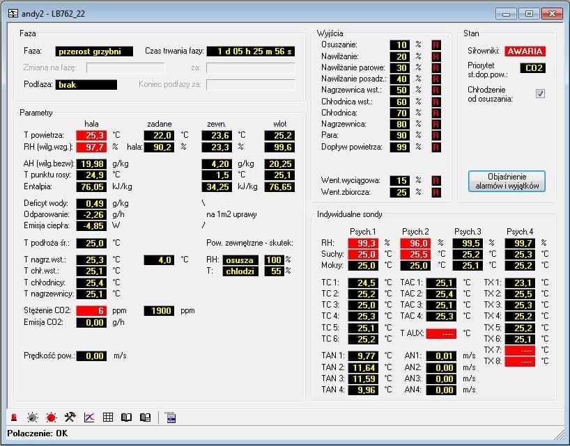 Ekran pomiarów regulatora klimatyzacji pieczarkarni LB-762 wyposażonego w dodatkowa wkładkę LB-762-IO