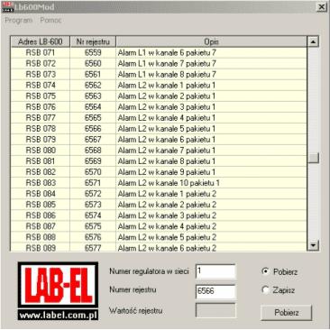 Obsługa modbus w regulatorze LB-600