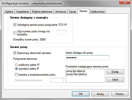 Ekran serwera LBX