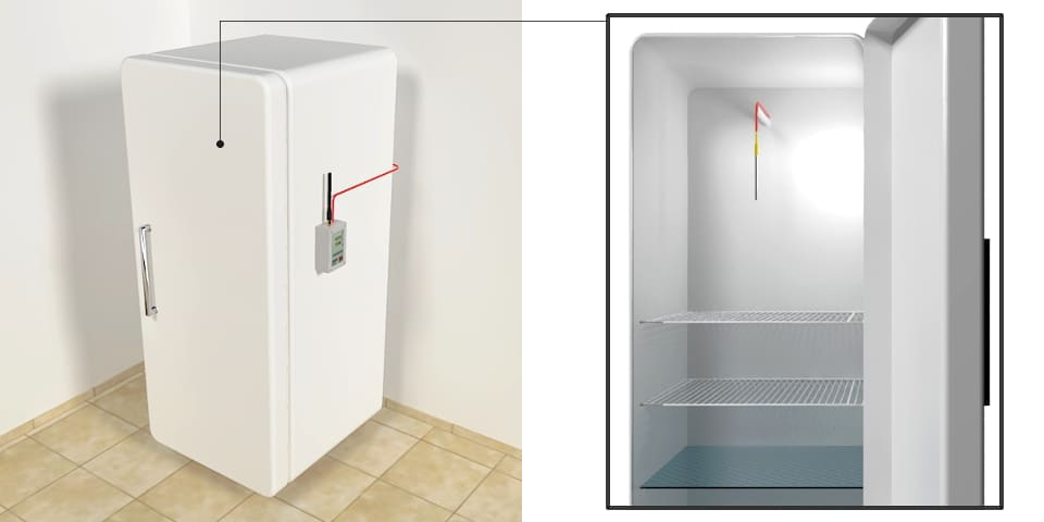 Instalacja ClimateloggersWave w lodówce - sonda w lodówce