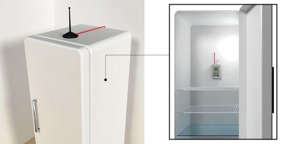 Instalacja ClimateloggersWave w lodówce - higrometr i antena