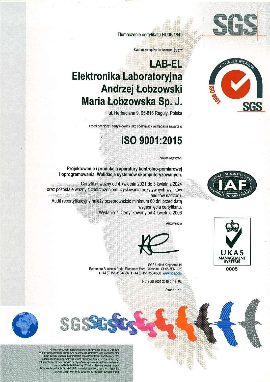 Certyfikat ISO 9001:2015 numer HU06/1849 (wersja polska)