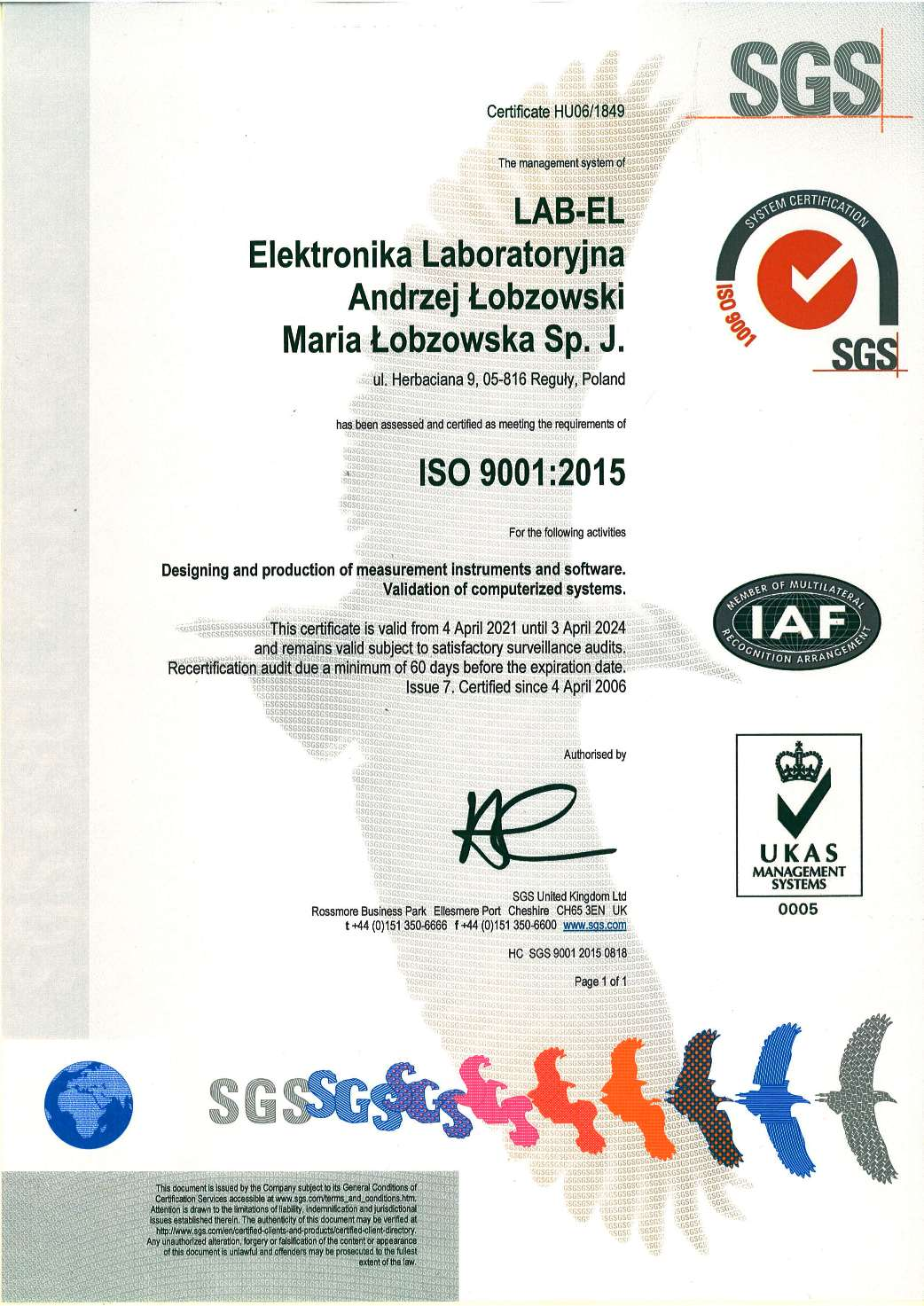 Certificate ISO 9001:2015 number HU06/1849 (English version)