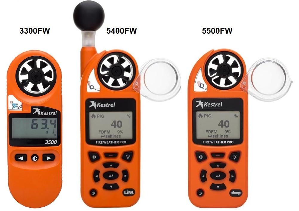 Kestrel 3300FW, 5400FW i 5500FW - Anemometry wiatraczkowe, wskaźniki zagrożenia pożarowego