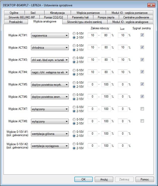 Ustawienia sprzętowe w zakładce Wyjścia analogowe regulatora LB-762.
