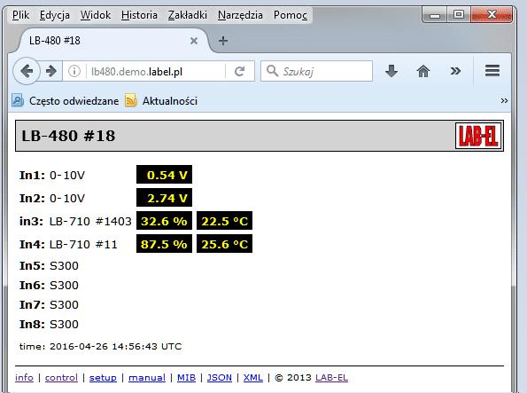 Strona WWW rejestratora LB-480