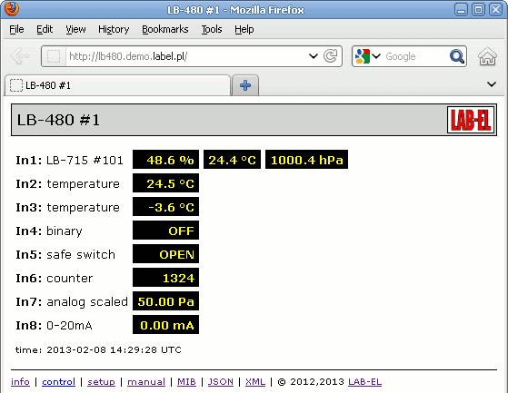 podgląd danych w przeglądarce WWW