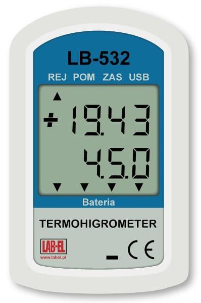 Termohigrometr z rejestracją wilgotności i temperatury LB-532