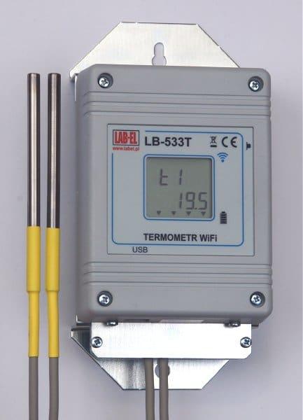 Bezprzewodowy czterokanałowy termometr WiFi LB-533T ze wspornikami metalowymi.