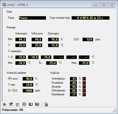 Ekran pomiarów sterownika LB-766 w programie LBX
