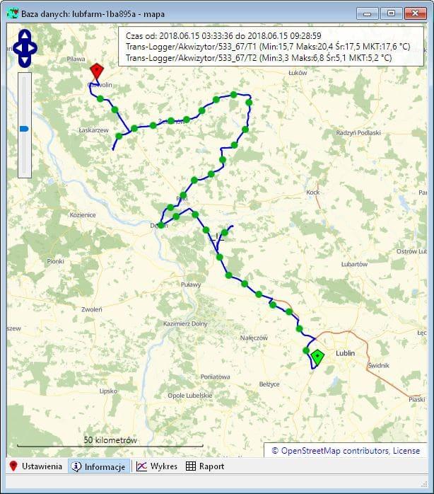 Monitorowania lokalizacji wszystkich tras przejazdu i wyświetlenie ich na mapie w programie LBX