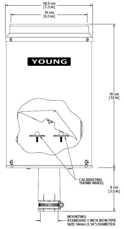 Rysunek montażowy czujnika opadu YOUNG  52202/3