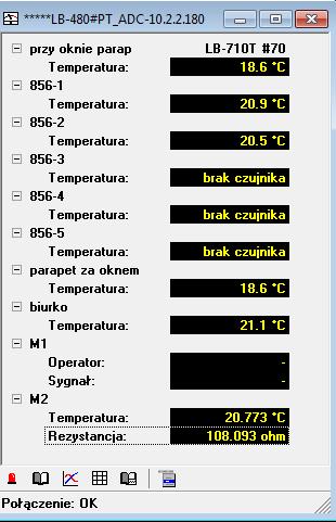 Okno pomiarowe w programie LBX