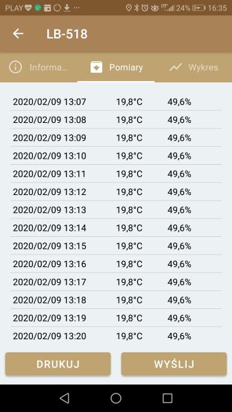 PARCEL-LOGGER tabelka z wynikami pomiarów