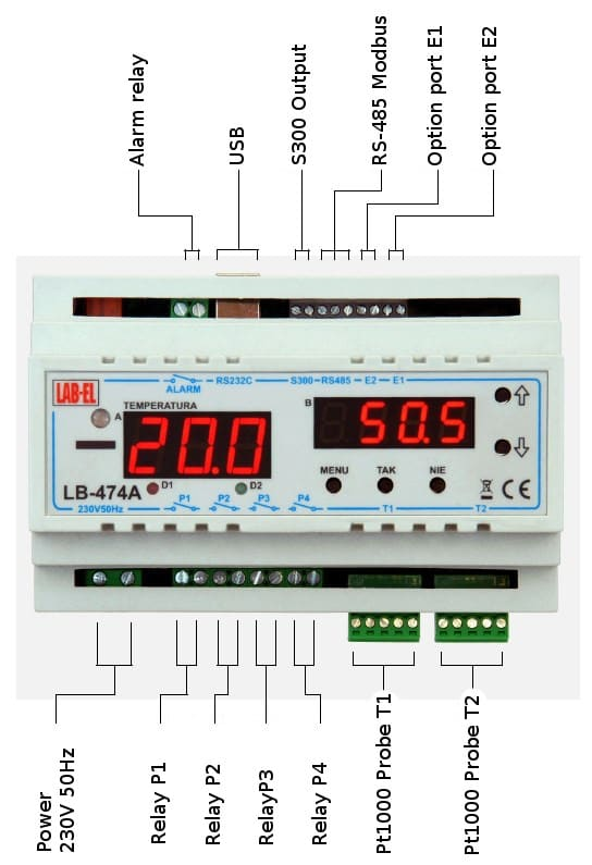 LB-474A thermometer, temperature/humidity regulator — description of connections.