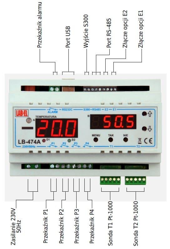 Termometr, regulator temperatury wilgotności LB-474A - opis złącz.