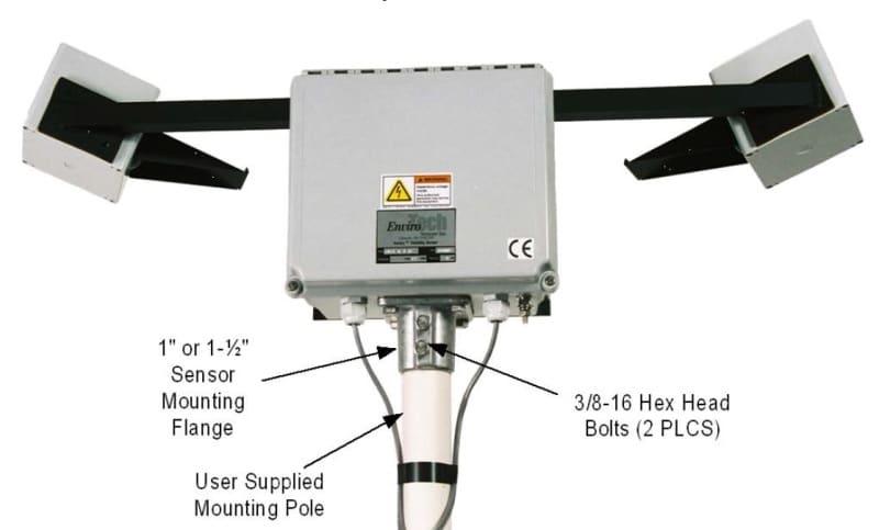 Sensor widzialności Sentry YOUNG 73000 rysunek montażowy