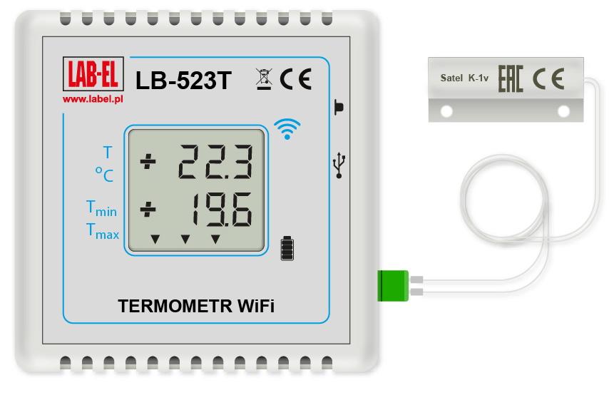 Termometr LB-523TD z zewnętrznym czujnikiem otwarcia drzwi