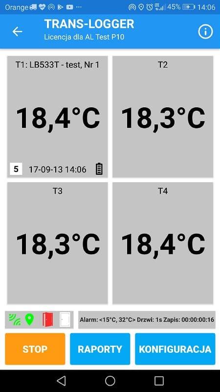 TRANS-LOGGER - ekran bieżących pomiarów