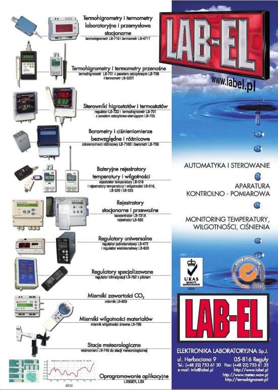 Ulotka LAB-EL regulacja, automatyka, pomiary