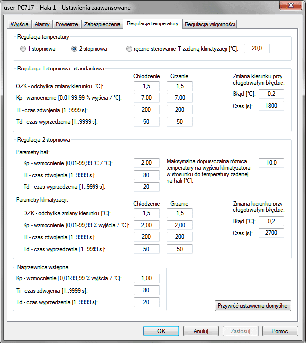 Ustawienia zaawansowane - Regulacja temperatury