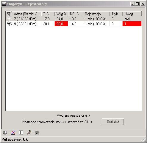 Rejestrator temperatury i wilgotności - dane