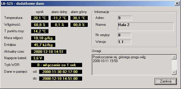 Rejestrator temperatury i wilgotności - dane dodatkowe