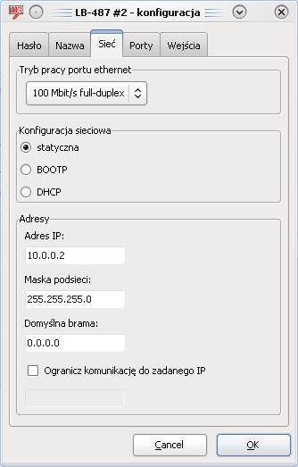 Ustawienia sieciowe rejestratora danych