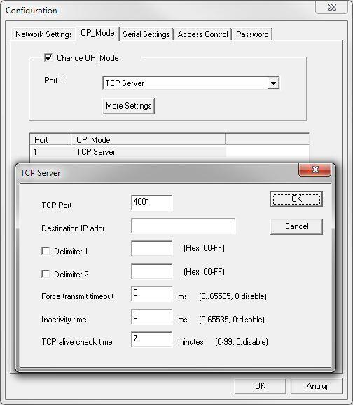 Konwerter ethernet - konfiguracja