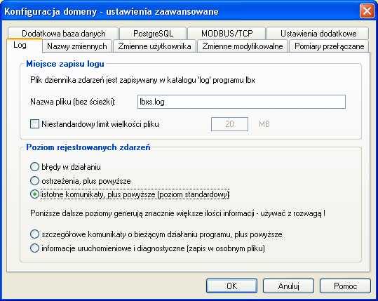 Serwer LBX - pliki log